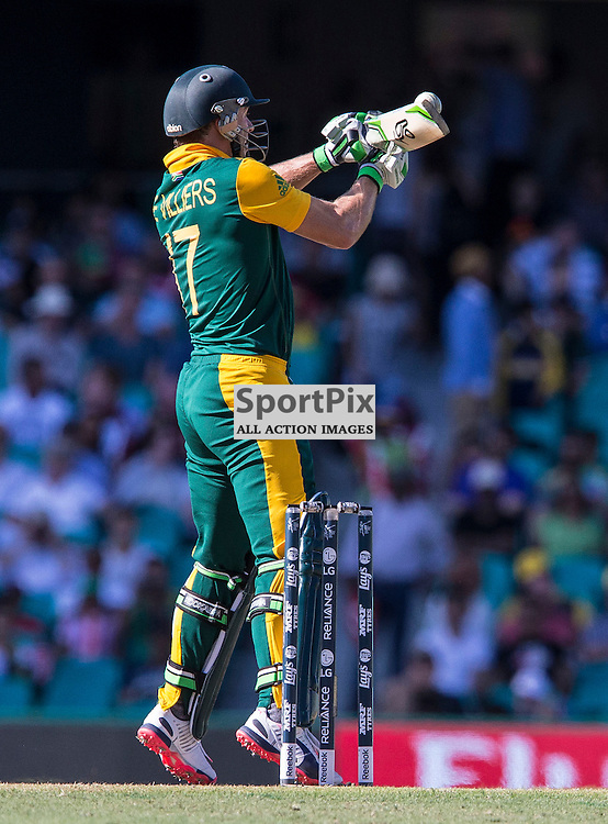 ICC Cricket World Cup 2015 Tournament Match, South Africa v West Indies, Sydney Cricket Ground; 27th February 2015<br /> South Africa&rsquo;s AB De Villiers plays a late shot over the keepers head
