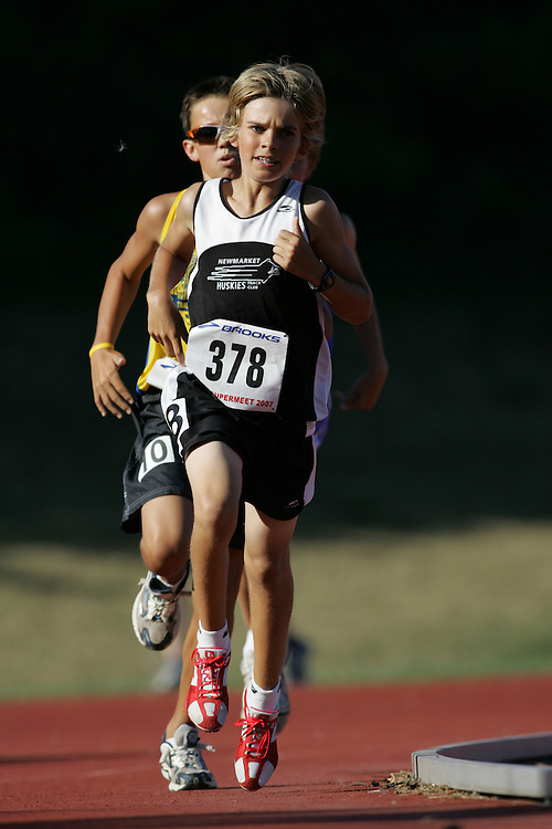 Adam Stewart competing in the 1500m at the 2007 OTFA Supermeet II. The Ontario Track and Field Association Bantam-Midget-Juvenile Championships were held in Toronto from August 3rd to 5th.
