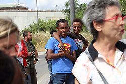 June 6, 2017 - Rome, Italy - This morning the police evacuate the camp of migrants organized and operated by Baobab Experience volunteers .at Via Chiaromonte, behind Tiburtina station, taking away the personal effects (photos, memories, money) that migrants kept in the curtains. (Credit Image: © Matteo Nardone/Pacific Press via ZUMA Wire)