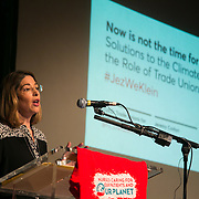 Naomi Klein. . A panel of speakers amongst others Jeremy Corbyn and Naomi Klein speak at an event organised by The Trade Unions for energy Talks in Paris, coinciding with the COP21.
