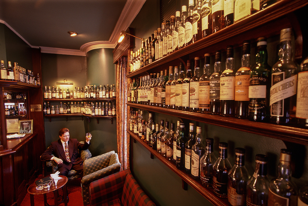 More than 900 whiskies line the walls of the Craigellachie Hotel, Craigellachie, Scotland.