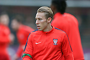 York City midfielder Danny Galbraith  during the Sky Bet League 2 match between York City and Morecambe at Bootham Crescent, York, England on 19 December 2015. Photo by Simon Davies.