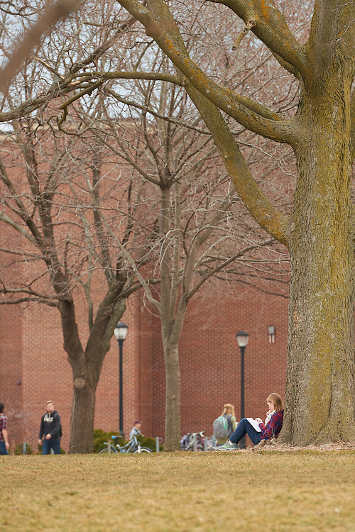 Activity; Studying; Socializing; Relaxing; Location; Outside; Objects; People; Woman Women; Student Students; Man Men; Spring; March; Time/Weather; cloudy; day; Type of Photography; Candid; UWL UW-L UW-La Crosse University of Wisconsin-La Crosse