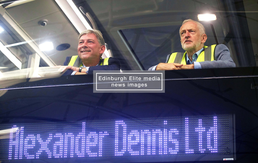 Labour leader Jeremy Corbyn accompanied by Scottish Labour leader Richard Leonard at the Alexander Dennis factory in Falkirk during a four-day visit to Scotland. pic copyright Terry Murden @edinburghelitemedia