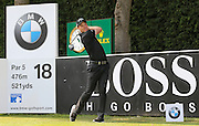 Danny Willett tees off on the 18th hole during the BMW PGA Championship at Wentworth Club, Virginia Water, United Kingdom on 29 May 2016. Photo by Phil Duncan.