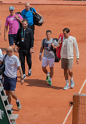 Roger Federer, Diego Schwartzman, training ahead the Roland Garros French Open tournament, on May 21, 2019 in Paris, France. Photo by ABACAPRESS.COM