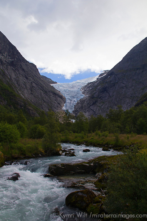 Europe, Norway, Olden. Briksdal Glacier and River.