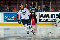 KELOWNA, CANADA - DECEMBER 5: Sasha Mutala #34 of the Tri-City Americans warms up with the puck against the Kelowna Rockets  on December 5, 2018 at Prospera Place in Kelowna, British Columbia, Canada.  (Photo by Marissa Baecker/Shoot the Breeze)