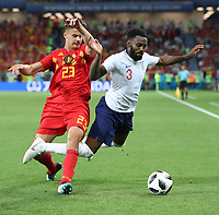 (180628) -- KALININGRAD, June 28, 2018 -- Danny Rose (R) of England vies with Leander Dendoncker of Belgium during the 2018 FIFA World Cup WM Weltmeisterschaft Fussball Group G match between England and Belgium in Kaliningrad, Russia, June 28, 2018. Belgium won 1-0. England and Belgium advanced to the round of 16. ) (SP)RUSSIA-KALININGRAD-2018 WORLD CUP-GROUP G-ENGLAND VS BELGIUM CaoxCan PUBLICATIONxNOTxINxCHN