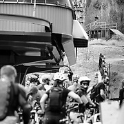 Andrew Whiteford grabs air over an old tram car during Friday Night Bikes at Jackson Hole Mountain Resort.