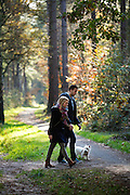 Bij Woudenberg geieten een man en vrouw met hun hondje van het mooi herfstweer.<br /> <br /> Near Woudenberg a man and woman enjoy walking with their dog on a nice autumn day.