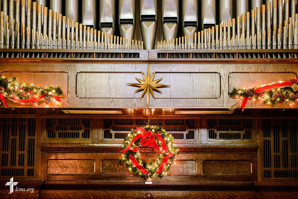 The decorated organ at Holy Cross Lutheran Church, Collinsville, Ill., on Monday, Nov. 27, 2017. LCMS Communications/Erik M. Lunsford