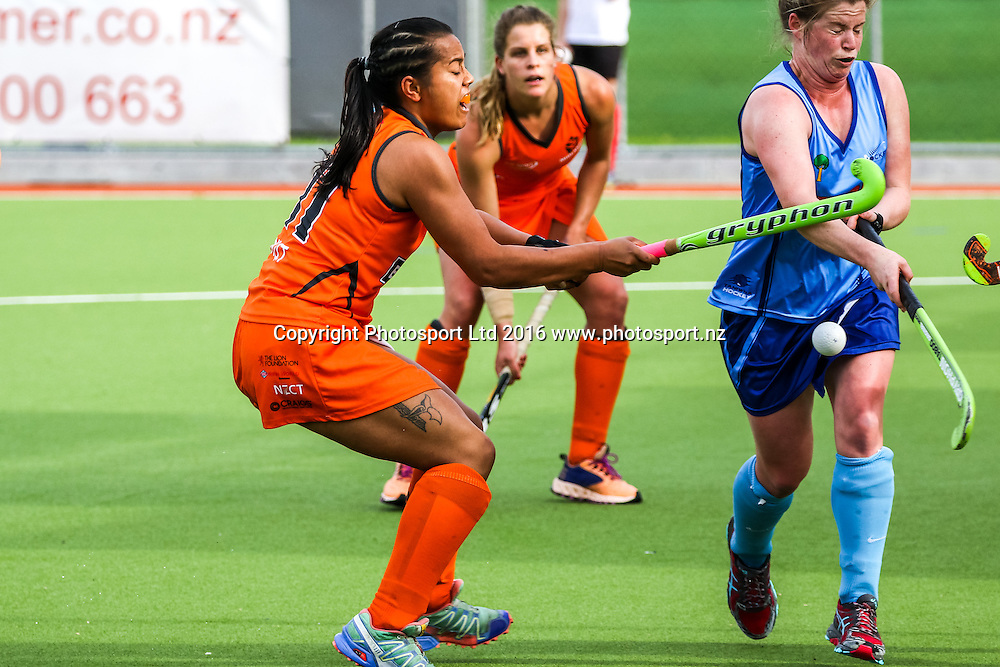 Midlands Oriwa Hepi attempts to trap the ball. Northland v Midlands Women, FORD National Hockey League, ITM Hockey Centre, Whangarei, New Zealand. Wednesday 14 September, 2016. Copyright photo: Heath Johnson / www.photosport.nz