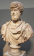 Marble statue of the Emperor Septimus Severs, a very skilled general, shown in military uniform.  Roman.  From Alexandria, Egypt.