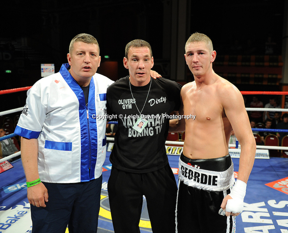 Derry Mathews defeats George Watson (pictured with team) for a Lightweight 8 x 3 min rounds contest at Olympia, Liverpool on the 11th June 2011. Frank Maloney Promotions.Photo credit: Leigh Dawney 2011