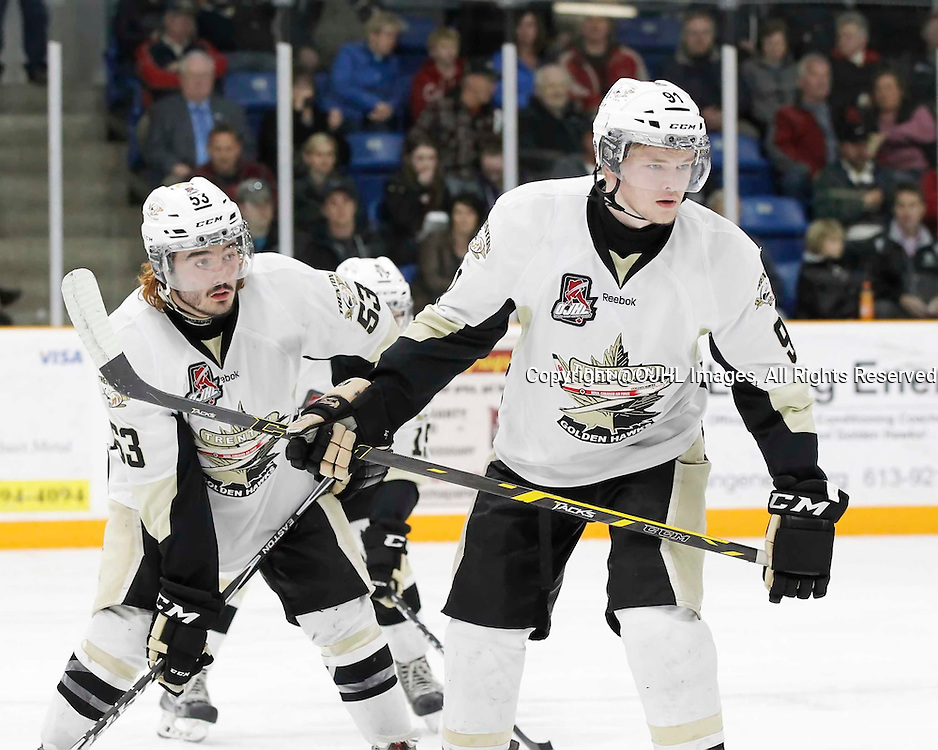 TRENTON, - Apr 17, 2016 -  Ontario Junior Hockey League game action between the Trenton Golden Hawks and the Georgetown Raiders. Game 3 of the Buckland Cup Championship Series, Josh Allan  #53 and Mac Lewis #91 of the Trenton Golden Hawks during the face-off at the Duncan Memorial Gardens, ON. (Photo by Amy Deroche / OJHL Images)