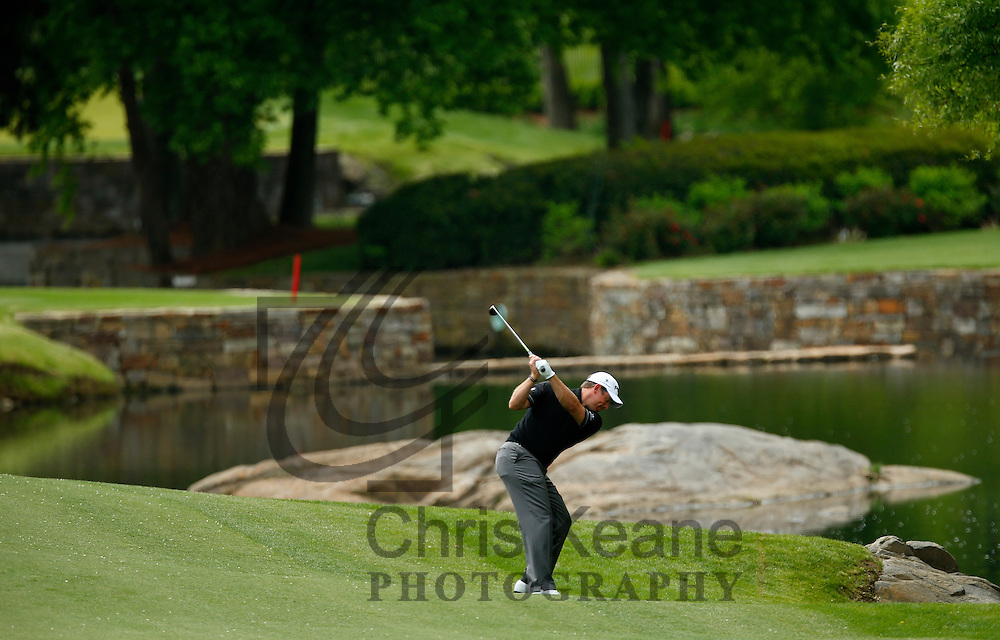 Lee Westwood of England plays his second shot on the seventh hole during the second round of the Wells Fargo Championship at the Quail Hollow Club in Charlotte, North Carolina on May 3, 2013.  (Photo by Chris Keane - www.chriskeane.com)