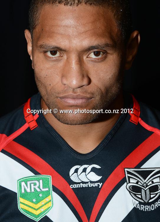 Manu Vatuvei, NRL Rugby League. Vodafone Warriors portrait session at Millennium Institute, Auckland, New Zealand on Wednesday 21 November 2012. Photo: Andrew Cornaga/photosport.co.nz
