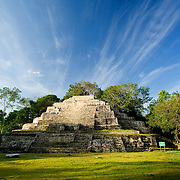 Jaguar temple at Lamanai Mayan Site, Orange Walk, Belize