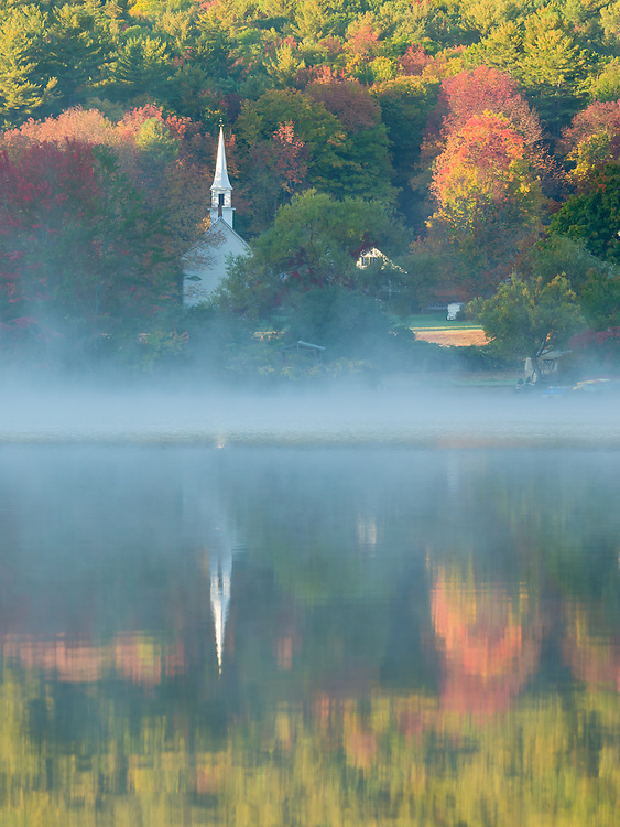 Little White Church in Eaton, NH, as seen across Crystal Lake.