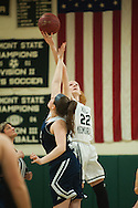 Rice's Lizzy Lyman (22) leaps for the opening tip off during the girls basketball game between the Burlington Sea Horses and the Rice Green knights at Rice Memorial high school on Thursday night February 18, 2016 in South Burlington. (BRIAN JENKINS/for the FREE PRESS)