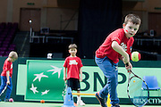 Tenis 10 ( tenis event for children ) during the BNP Paribas Davis Cup 2014 between Poland and Croatia at Torwar Hall in Warsaw on April 5, 2014.<br /> <br /> Poland, Warsaw, April 5, 2014<br /> <br /> Picture also available in RAW (NEF) or TIFF format on special request.<br /> <br /> For editorial use only. Any commercial or promotional use requires permission.<br /> <br /> Mandatory credit:<br /> Photo by &copy; Adam Nurkiewicz / Mediasport