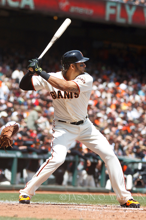 SAN FRANCISCO, CA - APRIL 26:  Michael Morse #38 of the San Francisco Giants at bat against the Cleveland Indians during the second inning at AT&T Park on April 26, 2014 in San Francisco, California. The San Francisco Giants defeated the Cleveland Indians 5-3.  (Photo by Jason O. Watson/Getty Images) *** Local Caption *** Michael Morse