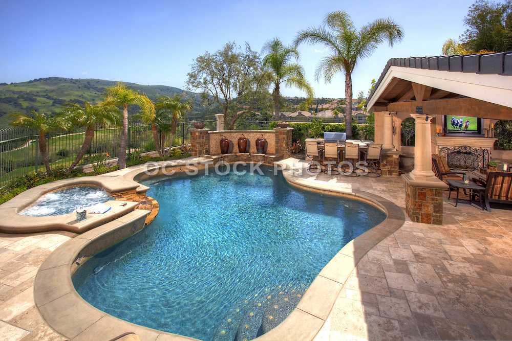 Custom Backyard with Swimming Pool and View