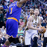 09 December 2015: Utah Jazz forward Gordon Hayward (20) drives past New York Knicks center Kevin Seraphin (1) during the Utah Jazz 106-85 victory over the New York Knicks, at the Vivint Smart Home Arena, Salt Lake City, Utah, USA.