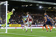 34 Mert Gunok for İstanbul Başakşehir F.K. saves from 9 Sam Vokes for Burnley FC during the Europa League third qualifying round leg 2 of 2 match between Burnley and Istanbul basaksehir at Turf Moor, Burnley, England on 16 August 2018.