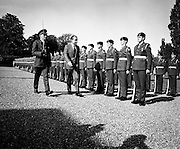US President Richard Nixon inspects a guard of honour at Aras an Uachtarain. During his visit, Nixon went to Timahoe, Co Kildare, from where his Quaker ancestors, Thomas and Sarah Milhous, had left for Pennsylvania in 1729.<br />