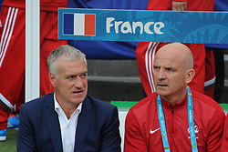 France's coach Didier Deschamps and assistant-coach Guy Stephan in Soccer World Cup 2014 First round Group E match France vs Honduras in Beira-Rio Stadium, Porto Alegre, Brasil , on June 15th, 2014. France won 3-0. Photo by Henri Szwarc/ABACAPRESS.COM