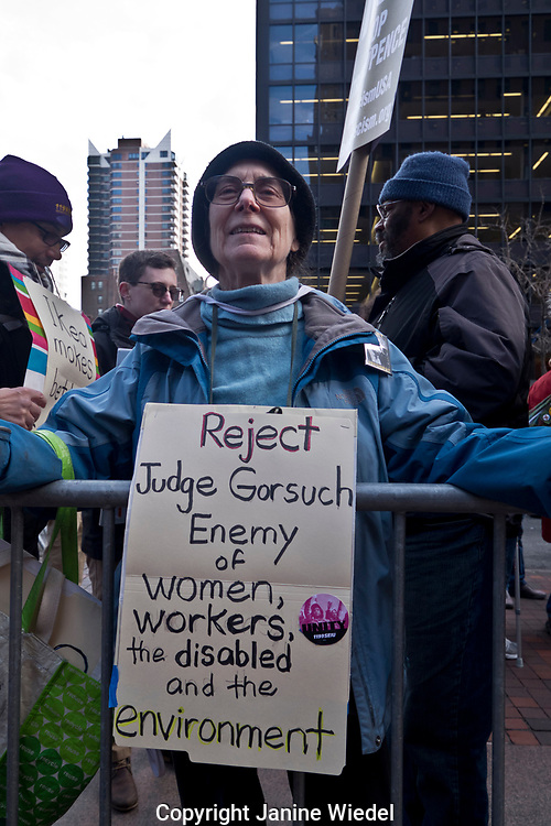 Protester against election of Judge Gorsuch. Environmental protest in Manhattan New York City 2nd Feb 2017Judge Gor