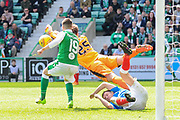 Keeper Jak Alnwick makes a vital punch clearance during the Ladbrokes Scottish Premiership match between Hibernian and Rangers at Easter Road, Edinburgh, Scotland on 13 May 2018. Picture by Kevin Murray.