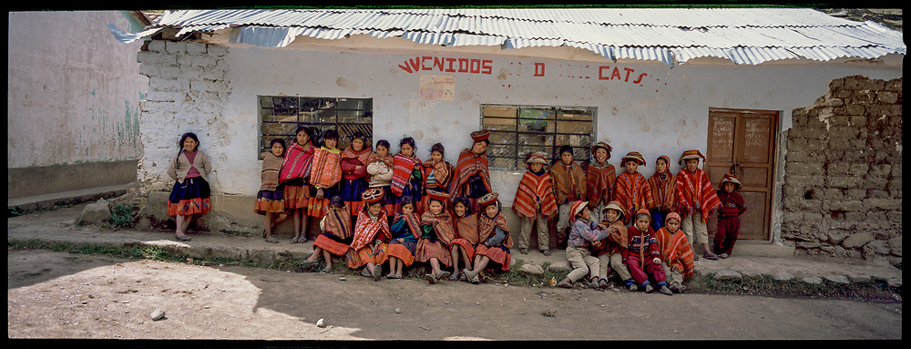 School students in the mountains, Peru, 2003
