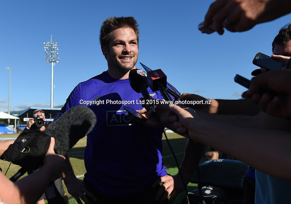 All Black Captain Richi McCaw talks to the media during the All Blacks Captain's Run and training session at Apia Park ahead of the test match against Samoa tomorrow. Apia, Samoa. Tuesday 7 July 2015. Copyright Photo: Andrew Cornaga / www.Photosport.nz