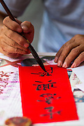 "22 JANUARY 2013 - BANGKOK, THAILAND:   A detail photo of a calligrapher writing out Chinese New Year decorations at his table on Charoen Krung Road in Bangkok's Chinatown district. Chinese New Year is not an official public holiday in Thailand, but it is one the biggest celebrations in the Bangkok, which has a large Chinese population. Chinese New Year is February 10 this year. It will be the ""Year of the Snake.""    PHOTO BY JACK KURTZ"
