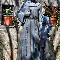 Franciscan with Indian Boy Statue in Old City of St. Augustine, Florida <br />