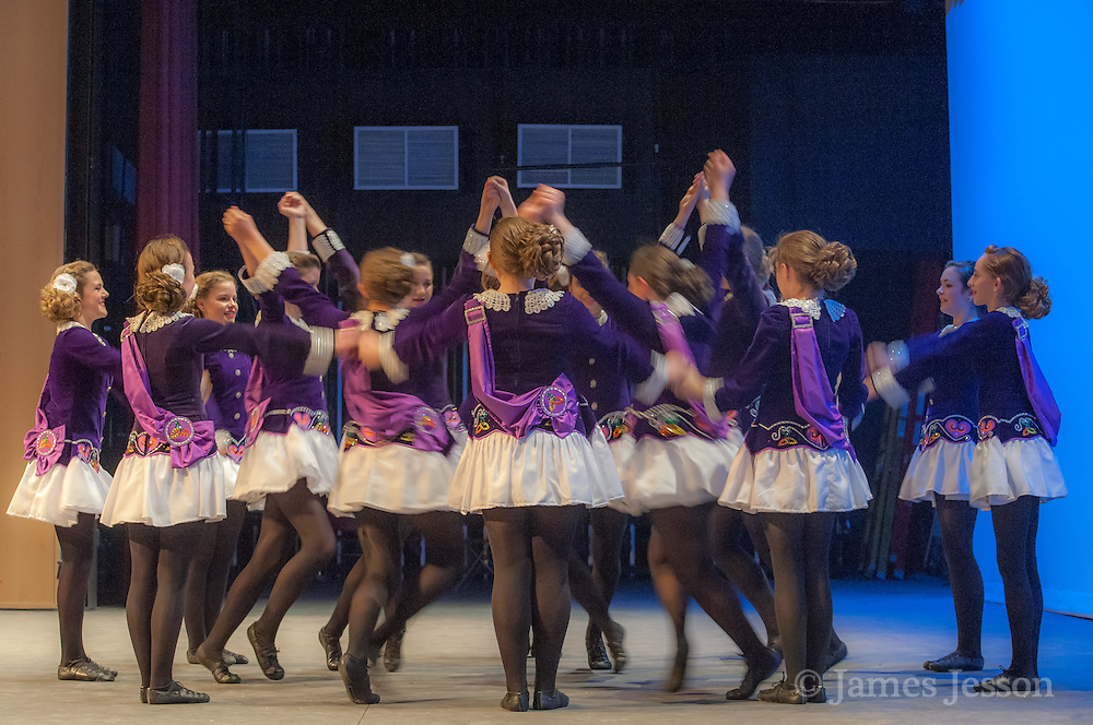 A dance team performs during a Worlds Preview Party at Chelmsford High School featuring dancers who have qualified for the Irish Dance World Championships in Montreal, Mar. 21, 2015.   (Wicked Local Photo/James Jesson).