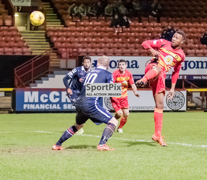 Partick Thistle's David Amoo takes a shot at goal during the Partick Thistle FC V Ross County FC Ladbrokes Scottish Premiership game played at Firhill Stadium, Glasgow on 19th December 2015; (c) BERNIE CLARK | SportPix.org.uk