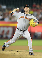 PHOENIX, AZ - JUNE 07:  Starting pitcher Matt Cain #18 of the San Francisco Giants pitches against the Arizona Diamondbacks in the first inning at Chase Field on June 7, 2013 in Phoenix, Arizona.  (Photo by Jennifer Stewart/Getty Images) *** Local Caption *** Matt Cain