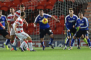 Andy Williams of Doncaster Rovers kicks towards goal during the Sky Bet League 1 match between Doncaster Rovers and Chesterfield at the Keepmoat Stadium, Doncaster, England on 24 November 2015. Photo by Ian Lyall.