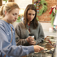 Erin Ledbetter, left, and Anna Grimmett shop for jewelry at About the South in downtown Tupelo for Small Business Saturdat
