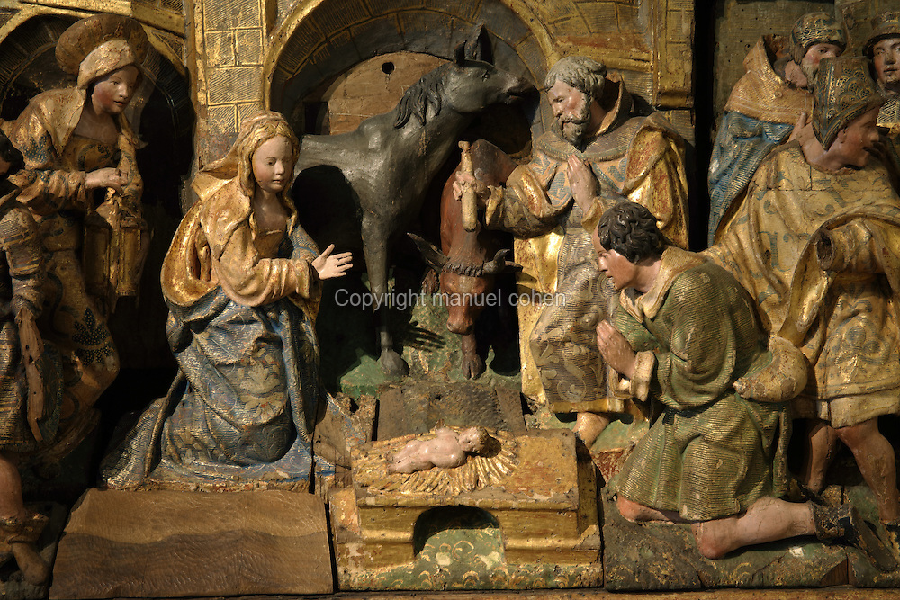 Nativity, detail, sculptural group, 16th century, from Antwerp, from the Altarpiece of the Nativity, from the Colegio das Ursulines in Coimbra, in the Museu Nacional de Machado de Castro, Coimbra, Portugal. The museum was opened in 1913 and renovated 2004-2012. The city of Coimbra dates back to Roman times and was the capital of Portugal from 1131 to 1255. Its historic buildings are listed as a UNESCO World Heritage Site. Picture by Manuel Cohen