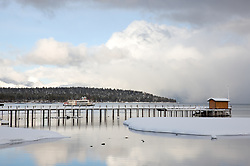 """Pier in Tahoe City 1"" - This pier and paddlewheel boat were photographed In Tahoe City, Lake Tahoe."
