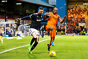 Dundee United defender William Edjenguele (#14) challenges Dundee forward Marcus Haber (#29) for the ball in the corner of the pitch during the Betfred Scottish Cup match between Dundee and Dundee United at Dens Park, Dundee, Scotland on 9 August 2017. Photo by Craig Doyle.