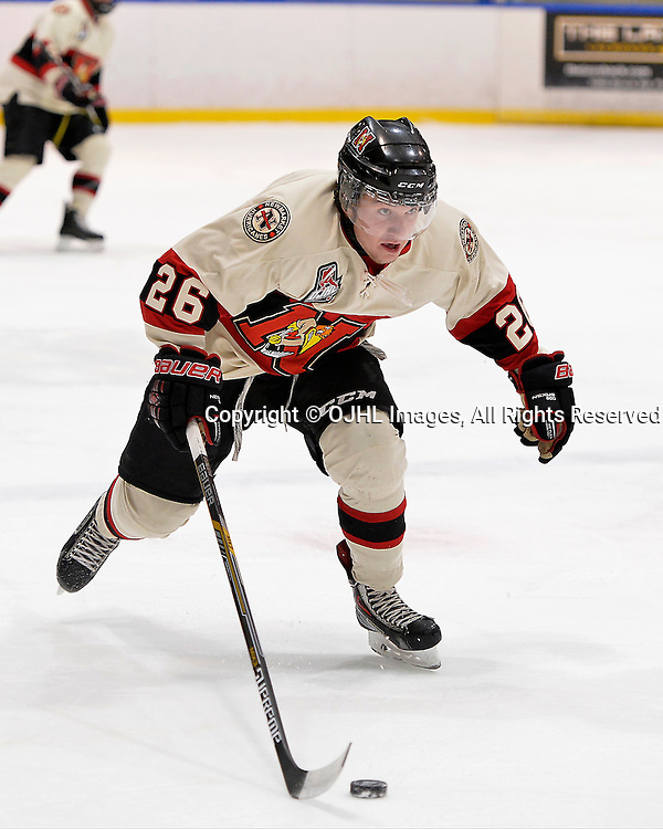 WHITBY, ON - Oct 9, 2015 : Ontario Junior Hockey League game action between Newmarket and Whitby, Marty Lawlor #26 of the Newmarket Hurricanes skates with the puck during the first period.<br /> (Photo by Shawn Muir / OJHL Images)