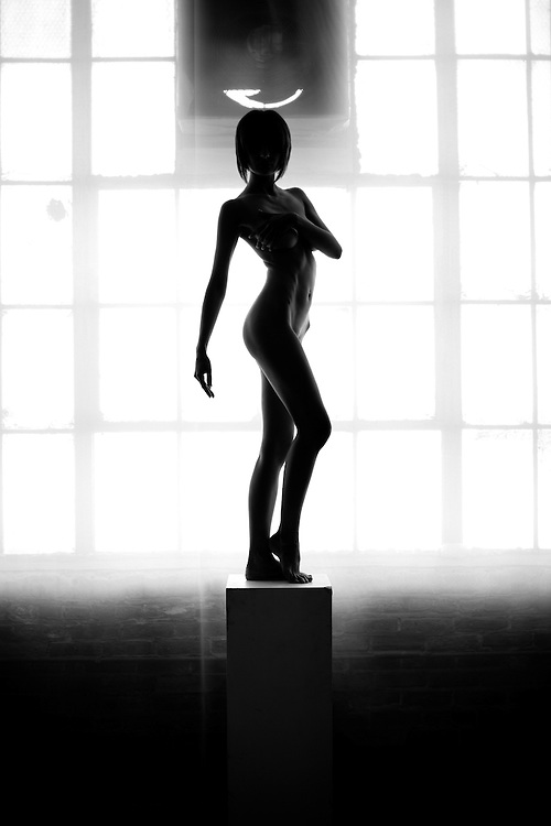 Slender nude female in natural window light. Posed classically, this statuesque silhouetted figure is elegantly juxtaposed against an urban warehouse environment.<br /> <br /> (Fine Art Prints are available for this image)