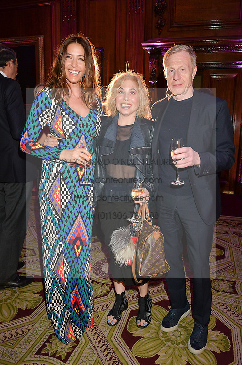 """Left to right, LISA SNOWDON, BRIX SMITH START and PHILIP START at the presentation of Le Prix Champagne De La Joie de Vivre to Stephen Webster in celebration of his long standing contribution to """"Joie de Vivre' held at the Council Room, One Great George Street, London on 22nd April 2015."""