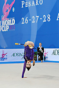 Alina Maksimenko during qualifying at clubs in Pesaro World Cup at the Adriatic Arena on 27 April, 2013.<br />
